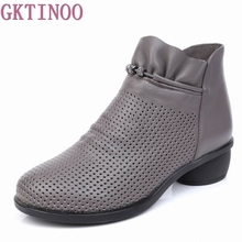 GKTINOO Spring Women Boots Genuine Leather Ankle Shoes Summer Boots Zapatos Chaussures Femme Square High Heel Women Shoe 35 43