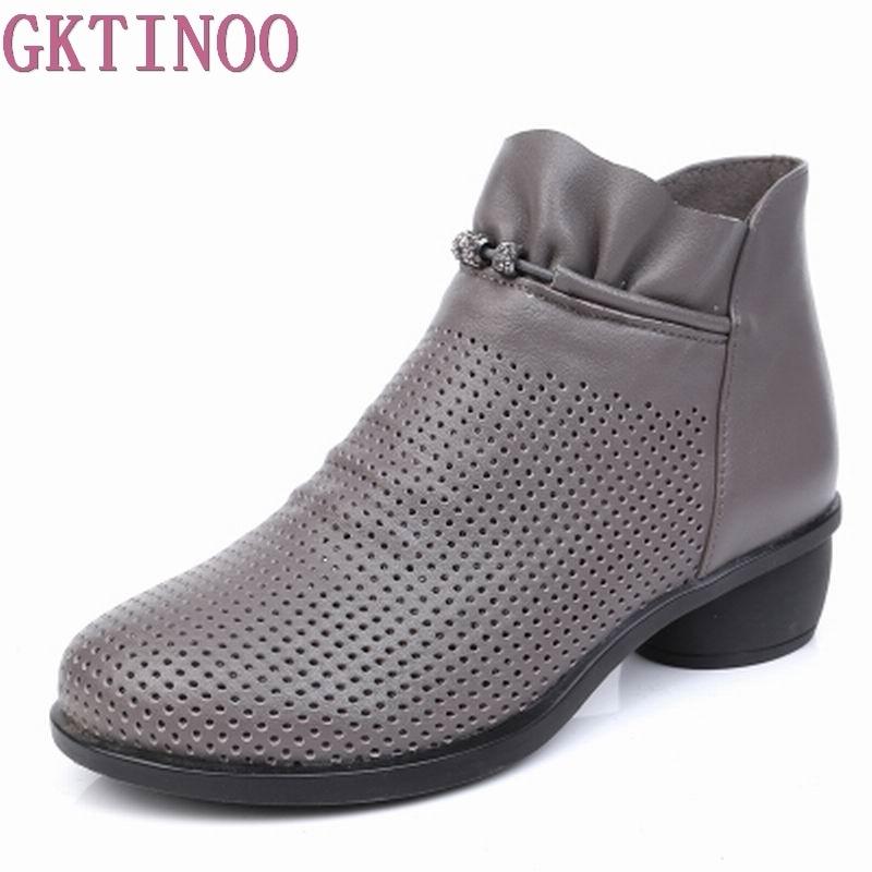 GKTINOOฤดูใบไม้ผลิผู้หญิงบู๊ทส์ข้อเท้าหนังแท้รองเท้าฤดูร้อนบู๊ทส์Zapatos C Haussures F Emmeตารางรองเท้าส้นสูงผู้หญิงรองเท้า35 43-ใน รองเท้าบูทหุ้มข้อ จาก รองเท้า บน   1