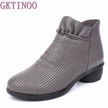 Gktinoo primavera botas femininas de couro genuíno tornozelo sapatos de verão zapatos chaussures femme salto alto quadrado sapato feminino 35 43