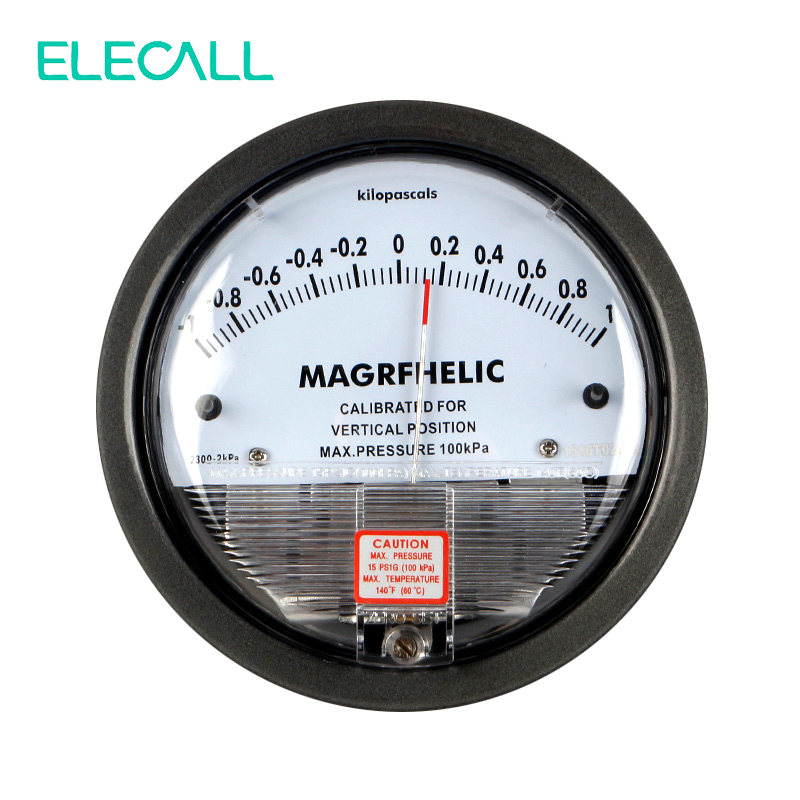 ELECALL TE2000 -1~1KPA Differential Pressure Gauge 4- 3/4 dia. X 2-3/16 Round Type Pointer Instrument Micromanometer 500 to 500pa micro differential pressure gauge high te2000