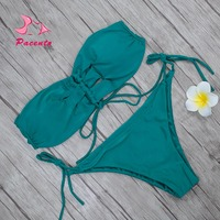 Pacento 2017 Nuevo Halter Bikini Set Brasileño Biquini Bandeau traje de Baño Verde Naranja Traje de Baño Las Mujeres traje de Baño Atractivo de la Playa Plavky