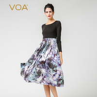 VOA Plus Size Silk Knit Print Long Sleeve Black Women Casual Dress High Waist Slim Tunic Korean Vintage Swing Midi Dress A7381