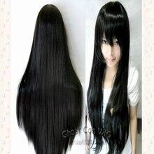 Puella Magi Madoka Magica Akemi Homura Long Black Synthetic Cosplay Party Wig Hair 80CM +Wig Cap цена 2017