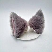 Косплей Аниме Лолита длинные меховые уши лисы зажим для волос вечерние Neko кошачьи ушки платье