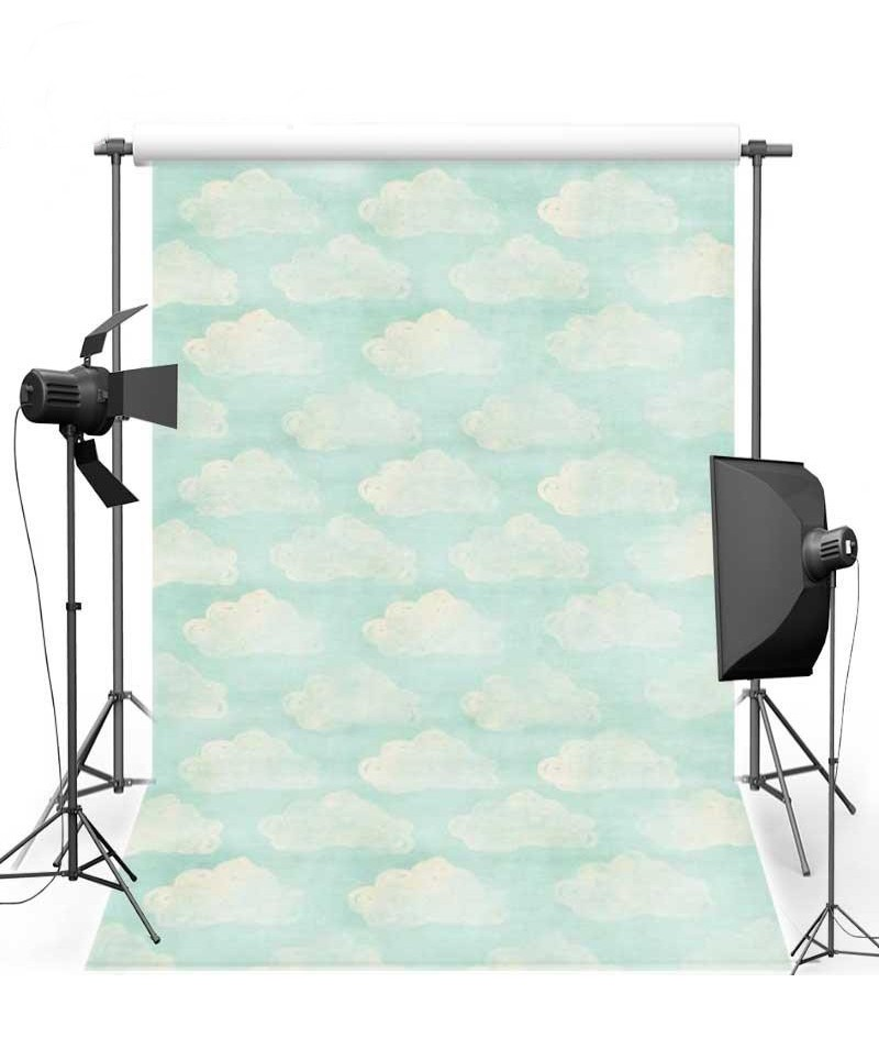White Clouds Blue Sky Cartoon Wall photography studio background Vinyl cloth High quality Computer printed party backdrop