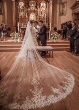 2018 Новый 4 м один слой кружева тюль Длинная свадебная фата новый белый цвет слоновой кости 4 м Фата с гребнем Velos De Novia