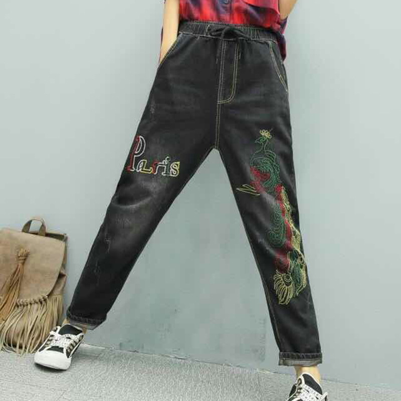 Softener Elastic Trousers Pants Jeans Azj Azj0b Z20 All Waist Harem Embroidery Loose Woman 208875 Vintage Hole Retro Cowboy Match For qAOzwEt