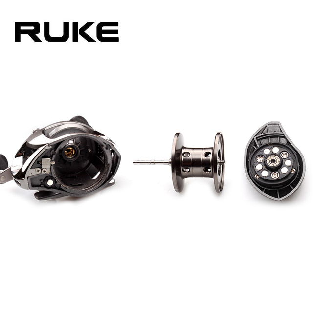 Ruke Fishing Reel Casting Reel Gear Ratio 5.1 :1 Aluminum Spool Magnetic Brake Bearing 5+1 EVA Knob 218g Max Drag 4.5KG 3