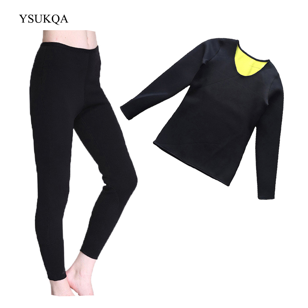 YSUKQA Neoprene Breathable Long Pant Sweat Shirt Slimming Vest Body Shaper font b Weight b font