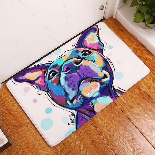 HomeMiYN 2018 Bath Mat Digital Flannel Foot Pads Painted Dog Lovely Animal Cartoon Modern Style Home Use Bathroom Kitchen Mats