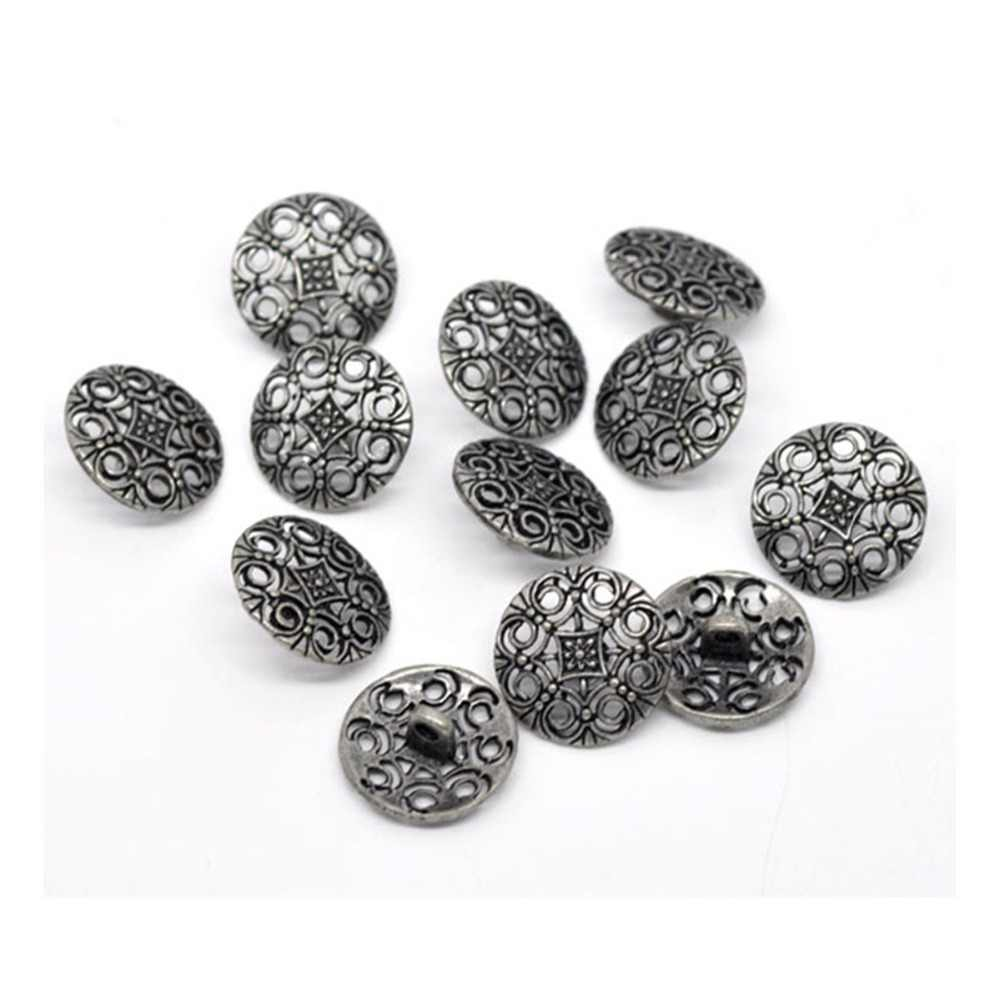DoreenBeads Zinc  alloy Jeans Button  Buttons Round Antique Silver Single Hole Flower Hollow Cadmium Free 18mm Dia,4 PCs