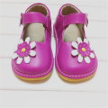 Hot Pink Baby Girl Squeaky Shoes Toddler Shoes Children Leather Shoes Girl Shoes Flower Shoes for Kids