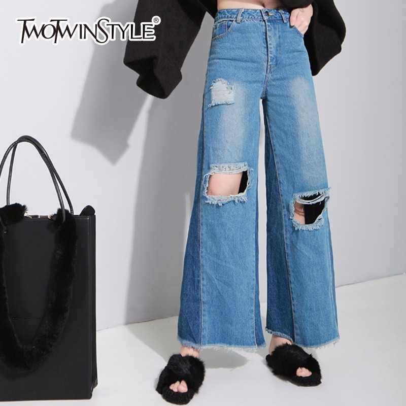 TWOTWINSTYLE Ripper Hole Jeans Women Palazzo Wid Leg Pants Female Loose Big Size Denim Full Trousers Casual Fashion Clothing aliexpress monikubu fashion casual big plus size clothing clothes denim jeans pants trousers for womens female feminino woman