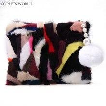 Лоскутное норки Мех животных Для женщин Сумочка дизайнер Для женщин Сумки известный бренд Для женщин Клатчи вечер дамы кошелек модная сумочка