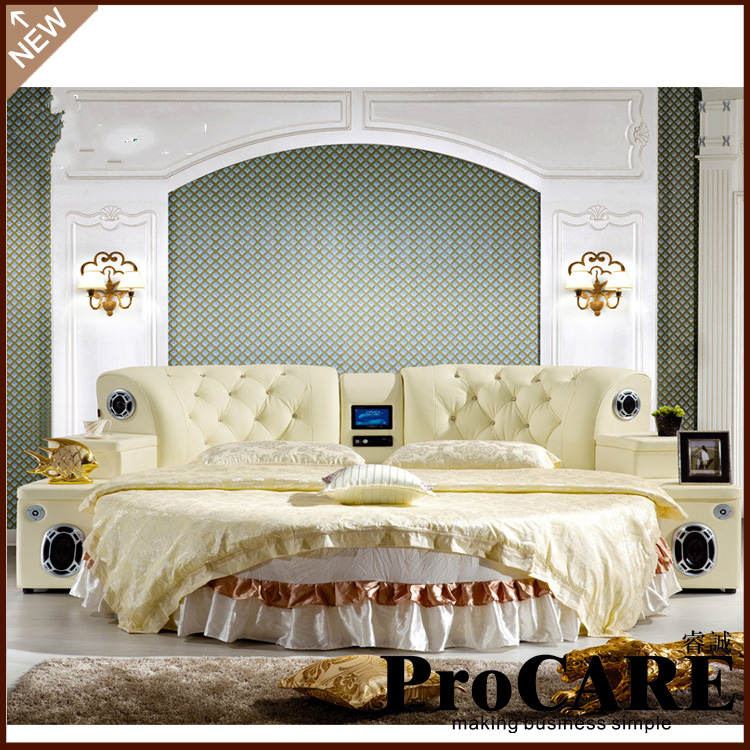 High Quality Comfortable Bed Room Furniture Round Bed Double Bed