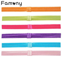 6 Pcs/lot Fashion Baby Colorful Headband Solid Elastic Fine Hairband Satin Ribbon For Infant Toddlers Hair Accessories