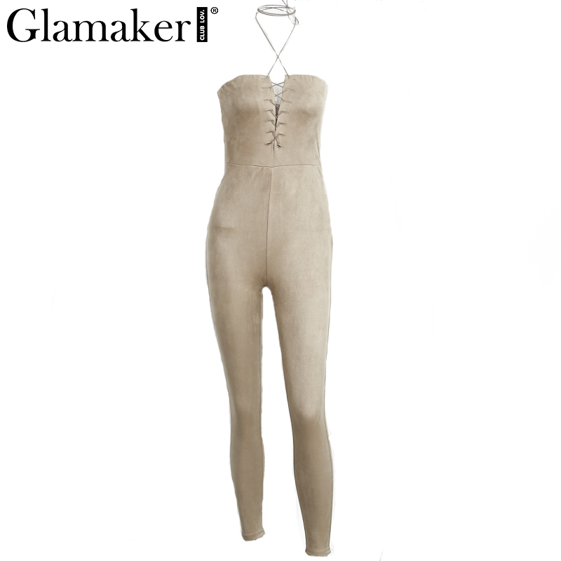 Glamaker 2017 Suede off shoulder lace up elegant jumpsuit romper Spring sexy party jumpsuit women Bodycon