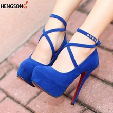 Size 34 42 Super High Thin Heels Shoes Spring Autumn Pumps T strap Buckle Strap Retro
