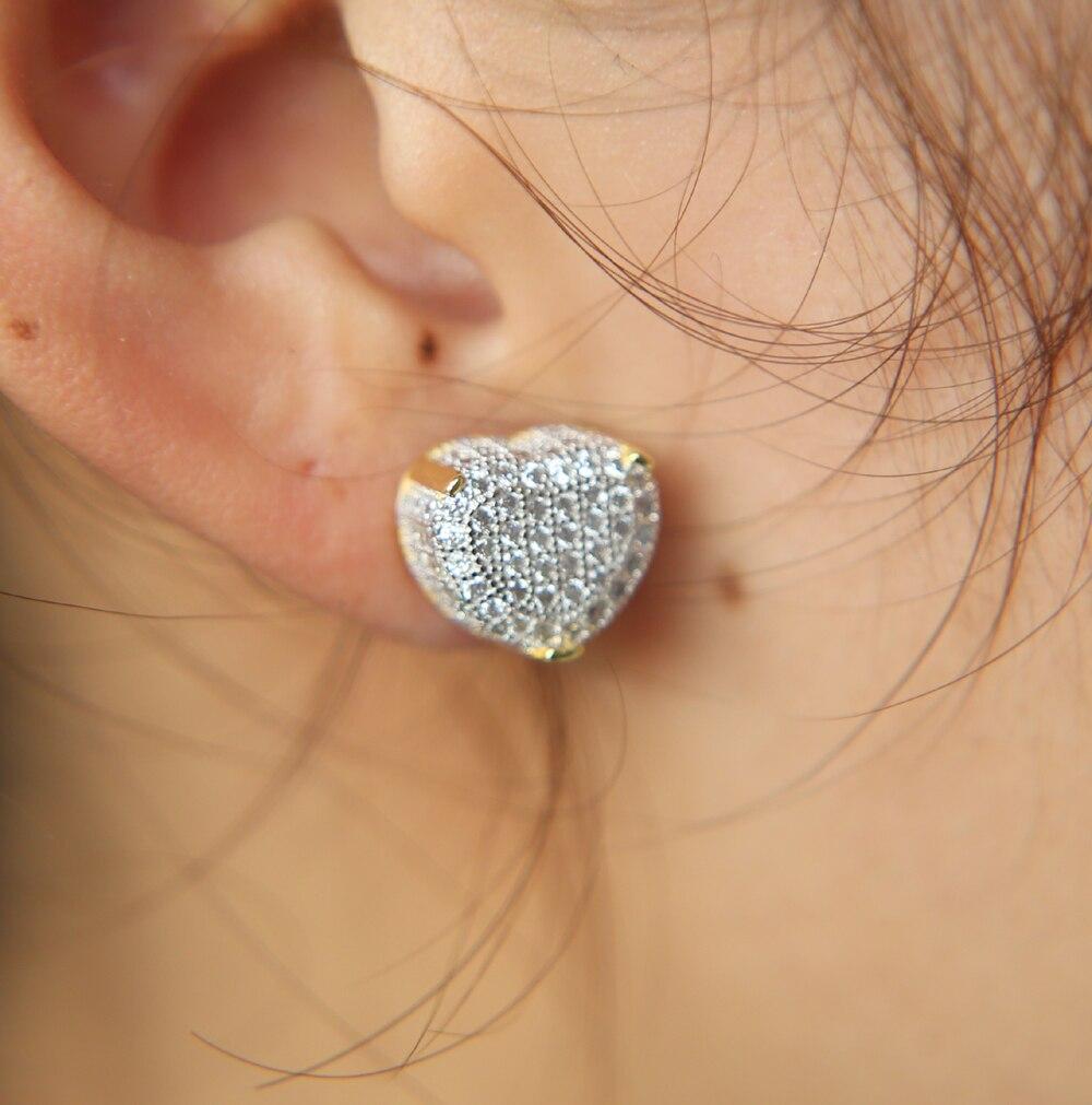 Women Lady Girl 925 Sterling Silver Cute Natural Zircon Heart Ear Stud Earrings