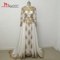 New arrival 2017 incrível branco e ouro prom vestidos de renda apliques beads pérolas liyatt árabe muçulmano encantador do vintage
