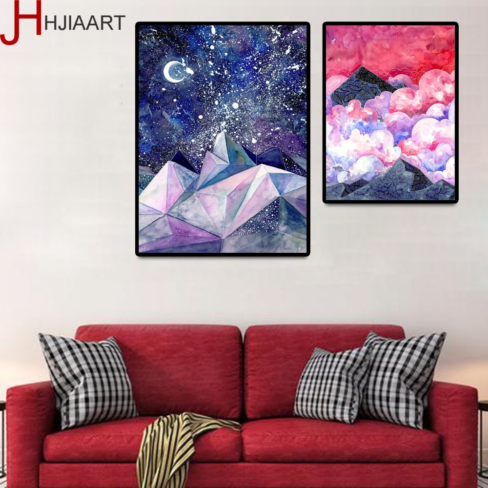 HJIAART Nordic Decorative Pianting Minimalism Print On Canvas Wall Art Colorful Nebula Posters Scenery Framework For Living Room ...