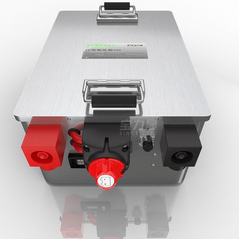 LiFePo4 batterie 12V24V36V48V 100AH 120Ah 200AH boîte en acier inoxydable contenant BMS-switch-coulomètre centrale solaire EV RV