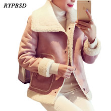 Autumn Winter 2018 Warm Thick Pink Gray Bomber Suede Leather Jacket Women Short Lambs Wool Fleece