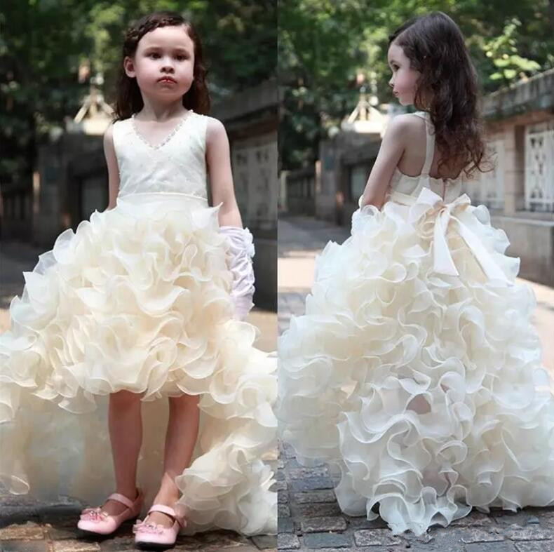 High Low Flower Girl Dresses Beaded Organza Ruffles V Neck  First Communion Dress 2018 Girls Pageant Gown Custom Any Size hot sale custom cheap pageant dress for little girls lace beaded corset glitz tulle flower girl dresses first communion gown