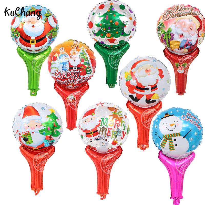 10pcs Merry Christmas Santa claus Stick Balloons Snowman Tree Holding Cheering Stick Happ New Year Decor Globos Supplies Toys ...