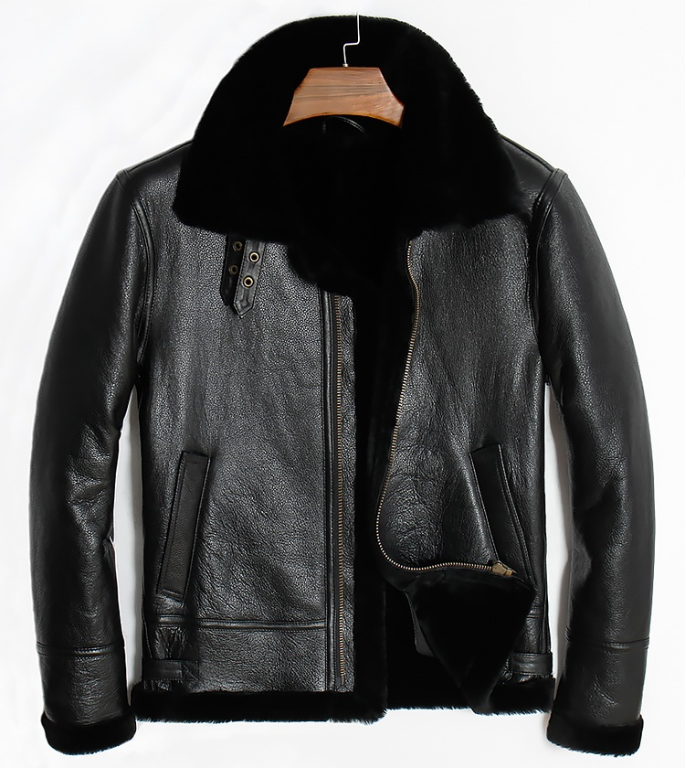 Бесплатная доставка, зимняя овечья шуба, моторная овечья шерсть, Мужская теплая кожаная куртка, Мужская Дубленка. Большие размеры черные ку...