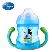 Disney feeding bottle for children PP cup with handle minnie mickey mouse cup with straw for drinking water 210ML bebes copos