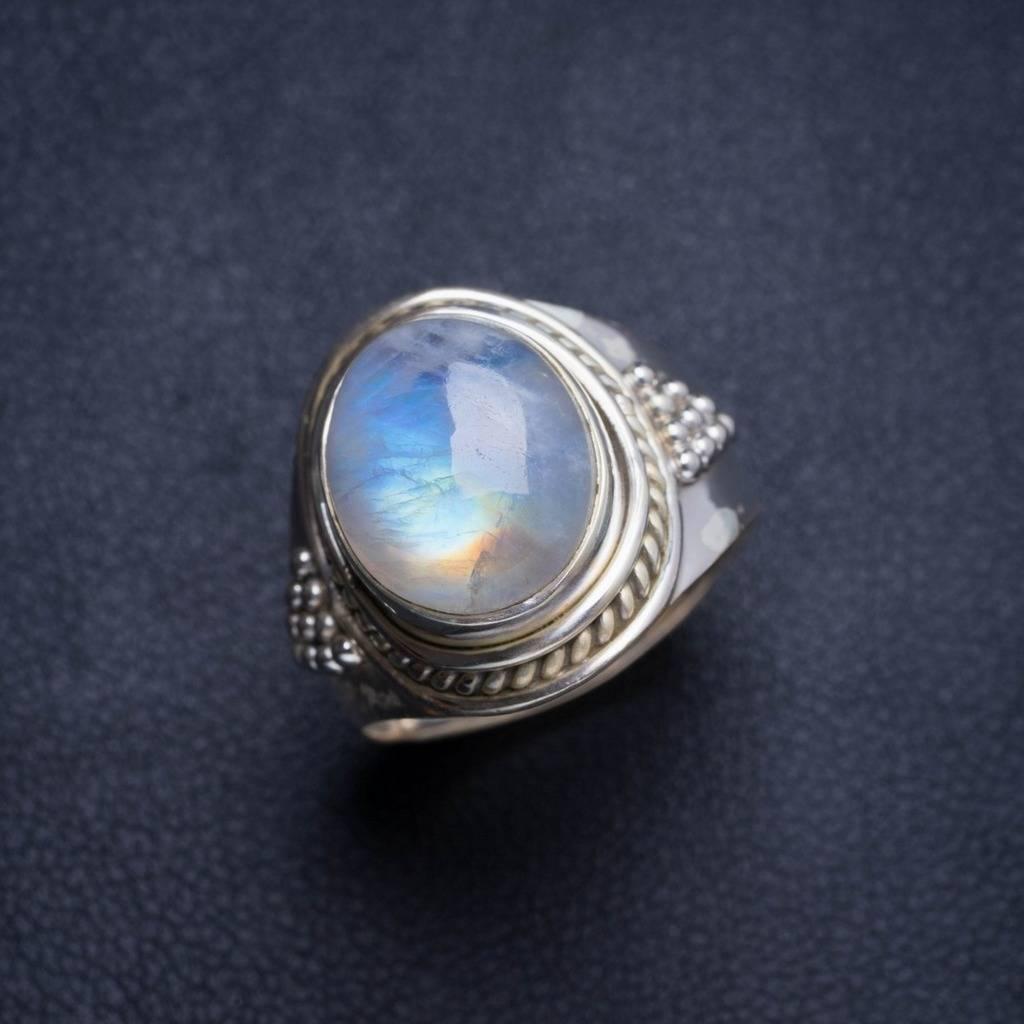 Natural Rainbow Moonstone Handmade Unique 925 Sterling Silver Ring 6.25 Y5007 natural rainbow moonstone handmade unique 925 sterling silver ring 6 75 y4681