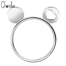 Chandler High Quality Silver Plated Cat Mickey Heart Ears Ring Kitty Handmade Simple Cute Animal Casual Ringen Feminino Bijoux