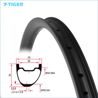 7 tiger 27.5er Asymmetrical 2.8mm offset carbon bicycle rims 30mm wide 33mm deep 28 holes hookless bike rim for XC