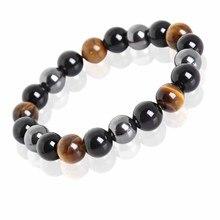Meajoe Tiger Eye Hematite Black Obsidian Stone Bead font b Bracelet b font Vintage Charm Round