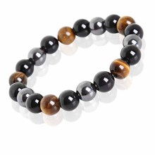 Meajoe Tiger Eye & Hematite & Black Obsidian Stone Bead Bracelet Vintage Charm Round Chain Beads Bracelets Jewelry For Women