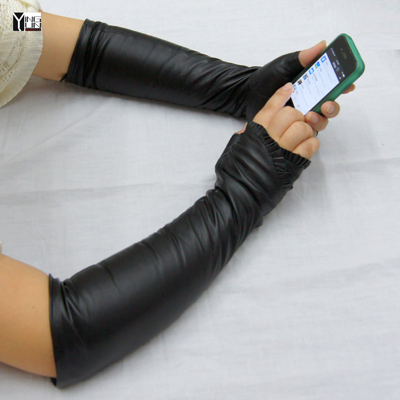 CHING YUN New Lady Long Gloves Spring Autumn Winter Thin Wire Lining Mittens Arm Sleeve Fingerless Sheepskin Leather Lotus Leaf