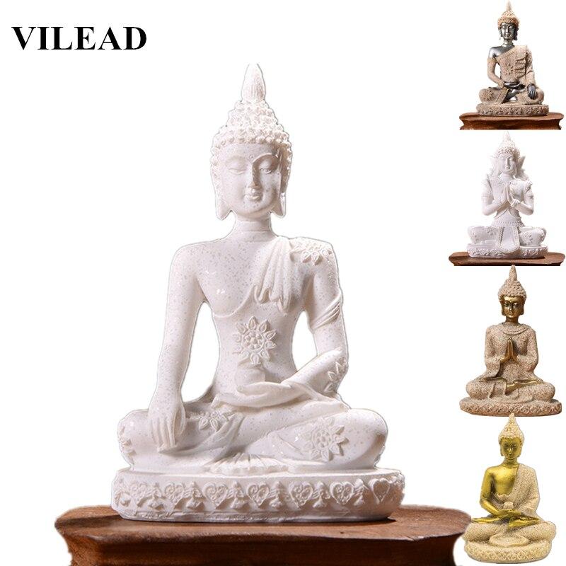 VILEAD 16 نمط بوذا تمثال الطبيعة الحجر الرملي تايلاند نحت على شكل بوذا الهندوسية فنغشوي تمثال التأمل مصغرة ديكور المنزل