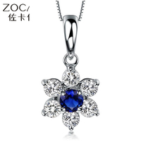 ZOCAI 0.18 CT sapphire & 0.30 ct diamond pendant with 925 SILVER CHAIN AS GIFT, 0.14 CT RUBY STONE 18K yellow gold AVAILBALE