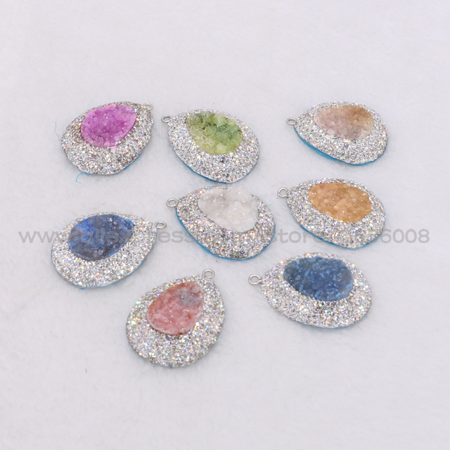 Wholesale natural stone druzy pendant mix colors big size pendants wholesale natural stone druzy pendant mix colors big size pendants beads handcrafted shiny gems jewelry finding mozeypictures Gallery