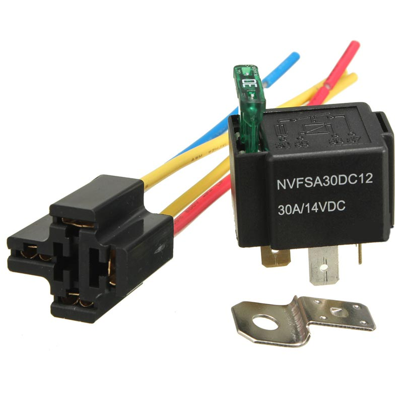где купить Pre Wired 4 Pin Relay Mounting Base Relay Socket Holder With Medium Fused On/Off 4-Pin Wired Cable 18AWG 30A DC12V дешево
