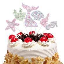 6pcs/set Ocean Cake Toppers Flags Cupcake Mermaid Topper Kids Birthday Wedding Bridal Wrapper Party Baking DIY Decor
