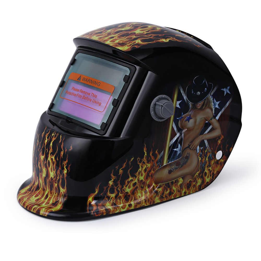 Защитная Сварочная маска Солнечная энергия Автоматическое затемнение PC защитное оборудование пламя шаблон сварочный шлем объектив сварная крышка
