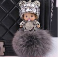 Crystal Monchichi Dolls keychain real rabbit fur pom pom monchhichi key chain Women bag charm key chain car pendant porte clef