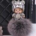 Monchhichi bonecas monchichi keychain de cristal real rabbit fur pom pom chave Mulheres cadeia saco charme chaveiro carro pingente de porte clef