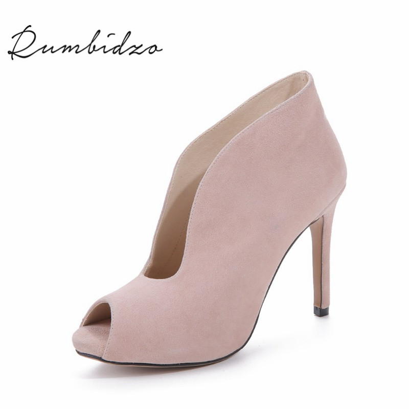 Rumbidzo 2017 Fashion Classic Women Ankle Boots Summer Peep Toe High Heels Suede Boots Sandals Woman Shoes купить