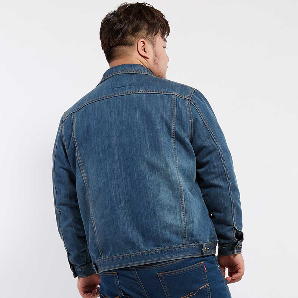44f1cbb97b8 Plus Size Mens Denim Jacket Autumn Winter Outerwear Trucker Dark Blue Male  Jeans Jacket BIG AND TALL Mens Clothing-in Jackets from Men s Clothing on  ...