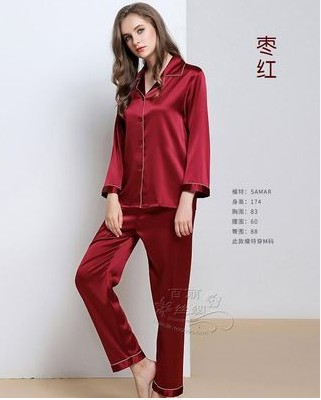 Silkworm beauty special cabinet mulberry silk heavy weight silk stretch satin long sleeves men pajamas home