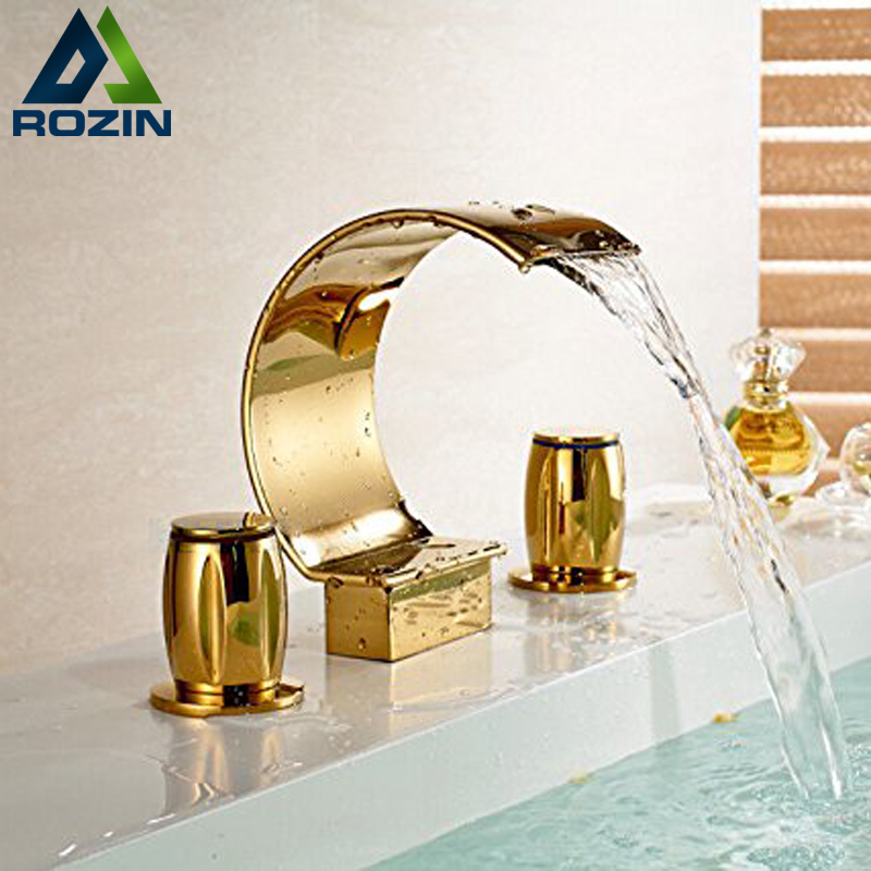 Здесь продается  Luxury Dual Cristal Handles TI-PVD Golden Basin Faucet Deck Mount Waterfall Bathroom Mixer Taps 3 Holes  Строительство и Недвижимость