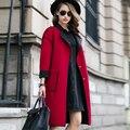 Горячая 2016 пальто женский осень зима куртка женщин новая мода с длинным рукавом шерсть шерстяное пальто тонкий с высоким качеством